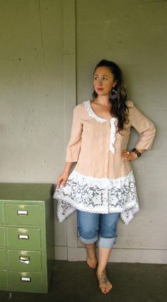 upcycled clothing Romantic Linen and Lace by lillienoradrygoods, $67.50