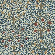 Pomona Wallpaper from the Apelviken Collection by Midbec Wallpapers is a blue tree wallpaper with hanging oversized apples and pears on a cream base.