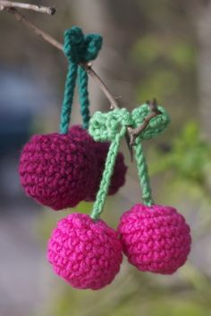DIY crochet cherry