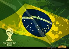 Brazil grunge flag with 2014 FIFA World Cup logo. You can make a great football promo with this. Under Commons 4.0. Attribution License.