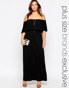 41ceef9afe2 Pink Clove Frilled Bardot Maxi Dress With Belt. Plus Size ...