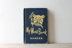 Vintage school book / navy blue / koala / retro by WhiteDogVintage, $20.00