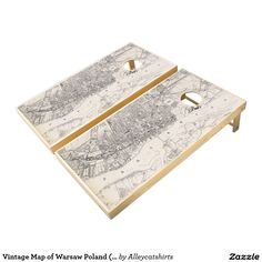 Vintage Map of Warsaw Poland (1836) Cornhole Set