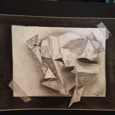 Trump l'oeil charcoal drawing of crumpled paper. Simple but elegant #art