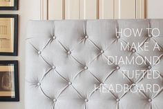 Learn the easiest method to make your own DIY Diamond Tufted Headboard for under. - Before After DIY Diy Tufted Headboard, How To Make Headboard, Headboards For Beds, Furniture Makeover, Diy Furniture, Outdoor Furniture, Chair Makeover, Furniture Design, Do It Yourself Inspiration