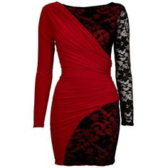 Red Drape And Lace Detail Bodycon Dress ($51) ❤ liked on Polyvore featuring dresses, vestidos, short dresses, red, floral chiffon dress, red dress, short red dress and chiffon dress