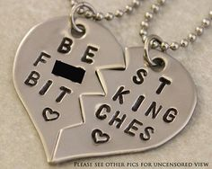 Best F&cking Bitches Necklaces - BFF Split Heart Jewelry, Best Bitches Jewelry - Hand Stamped Best Friend Necklace Stainless Steel - Mature on Etsy, $25.00