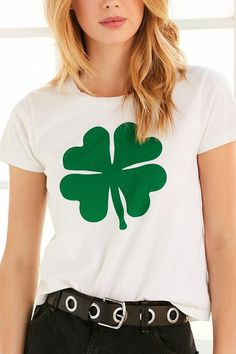 Shop Truly Madly Deeply Shamrock Tee at Urban Outfitters today. Truly Madly Deeply, Irish Girls, Sweater Shirt, Different Styles, Outfit Of The Day, Fitness Models, Graphic Tees, T Shirts For Women, My Style