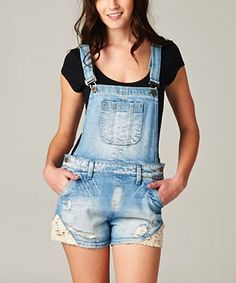 Light Wash Denim Lace-Trim Shortalls by Elegant Overalls Outfit, Denim And Lace, Overall Shorts, Lace Trim, Ideias Fashion, That Look, Elegant, My Style, Stuff To Buy