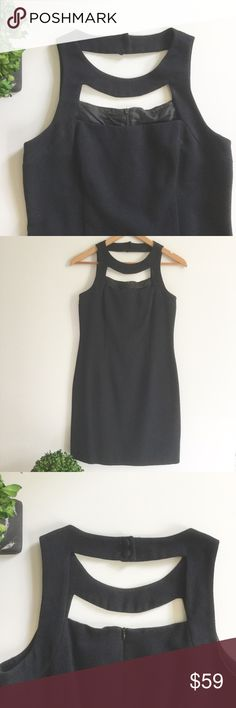 """LAUNDRY BY SHELLI SEGAL Cutout Jacquard Dress Gently used condition. Great little black dress with cutout chest & back. Can be dressed down for work or up for a night out. Cotton. Black. Fully lined. Zip back. Button neck. Chest: 16 1/2"""". Hips: 17"""". Length: 34"""". Ask any questions before purchasing. Laundry By Shelli Segal Dresses"""