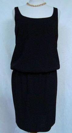 Dana Buchman Little Black Dress Blouson Top Sleeveless LBD Classic Style Sz 6 #DanaBuchman #Little #Black #Dress #LittleBlackDress #career #fashion #style #unique