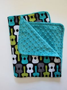 Baby Boy Blanket in Guitars and Teal Minky by firstcrushdesigns, $20.00