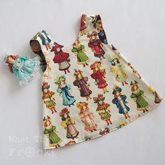 Girls Reversible Pinafore Apron Dress Frock Dolls and Orange
