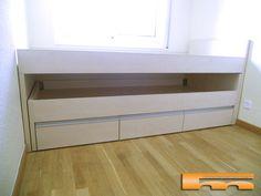 cama compacta habitacion infantil doble. Cama nido intermediacon cajones inferiores. Proyecto a medida de fusteriamanel.com