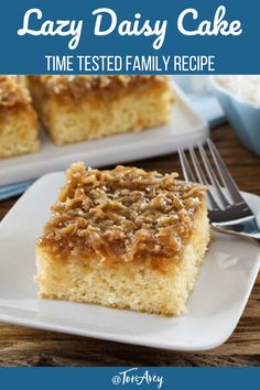 Light, moist vanilla cake topped with a broiled brown sugar coconut icing. Time-Tested Family Recipe from Tori Avey contributor Kelly Jaggers. Lazy Daisy Cake, Daisy Cakes, Coconut Icing, Moist Coconut Cake Recipe, Easy Desserts, Dessert Recipes, Hot Milk Cake, Moist Vanilla Cake, Light Cakes