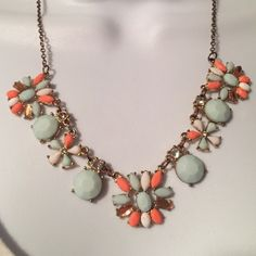 Teal and coral colored flower necklace Pretty necklace Jewelry Necklaces