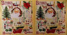 Vintage Christmas Quilt Fabric Panel Santa Stocking Tree Toys OOP 100% Cotton  #Clothworks