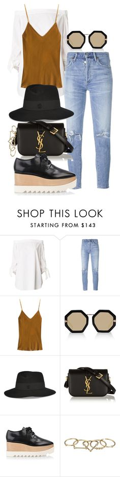 """""""Untitled #1201"""" by malurodz ❤ liked on Polyvore featuring TIBI, Citizens of Humanity, Mes Demoiselles..., Karen Walker, Maison Michel, Yves Saint Laurent, STELLA McCARTNEY and Zimmermann"""