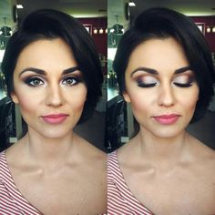 Wedding make-up by Katarzyna Świebodzińska. Make-up for brunette. Lips/usta: Mac Mehr + Bourjois Velvet Mat 10, Eyes/oczy: Too Faced Sweat Peach Palette + ABH Moon Child Palette + Mac Shroom, Face/Twarz: Estee Lauder Double Wear Tawny