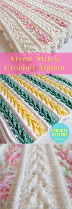 Crochet Afghan with Arrow Stitch #FreePatternCrochet → Blanket / Throw | size: 51'' x 62'' (129.5 x157.5cm) | US Terms Level: upper beginneryarn: Bernat Berella 4 Solids & Ragg, Bernat Berella 4 Ombres /Worsted (9 wpi) /2925 yards (2675 m)Hook: 5.0 mm (H)Author: Bernat Design Studio #ArrowStitchCrochetAfghan