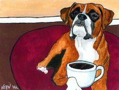 """Fawn Boxer with Coffee Cup Dog Art Print Signed by Artist Different Sizes Available. Approximatley 8""""x10"""" Image on 8.5""""x11"""" glossy photo paper. Print will be signed/numbered on back by artist and arrive unmatted and unframed."""