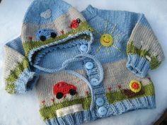 """Bilderbuchgarnitur """"Sonntagsausflug""""!  Handgestrickte Babyjacke mit passender Mütze !  Mit sehr viel Liebe und Sorgfalt gearbeitet !  Wie eine Seite im Bilderbuch. Rundherum sind gehäkelte..."""
