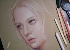 Drawing Tip: If you want to draw white or light-colored objects with colored pencils (like fair, wispy hair), try using darker colored paper.     Jennifer Healy uses Stonehenge paper in this portrait piece:http://bit.ly/15g0NhL