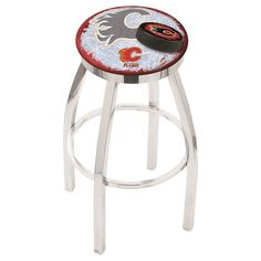 Calgary Flames NHL D2 Chrome Flat Ring Bar Stool. Available in 25-inch and 30-inch seat heights. Visit SportsFansPlus.com for details.