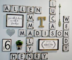Large Scrabble Tiles 5 Wood Blocks Gallery Wall Decor Farmhouse Style Personalized Sign Letter By