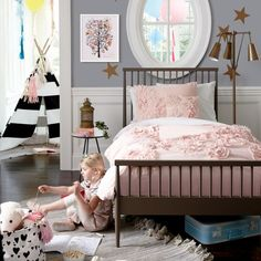 The color scheme I would like for Lyla's room - grey, white, light pink with an accent of gold