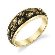 acorn and oak leaf wedding band Leaf Wedding Band, Wedding Rings, Celtic Wedding, Three Stone Diamond Ring, Jewelry Accessories, Jewelry Design, Jewelry Crafts, Men's Jewelry, Jewelry Making