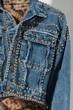 Detail View Shame On You Studded Denim Jacket in Blue Denim Beaded Denim Overalls, Denim Outfit, Studded Denim Jacket, Denim And Diamonds, Denim Ideas, Embellished Jeans, Denim Fashion, Red Fashion, Black Denim