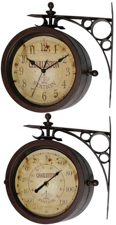 Amazon.com : Springfield Dual Sided Outdoor Thermometer And Clock With Wall  Bracket : Patio, Lawn U0026 Garden | Carolyn L. | Pinterest | Wall Brackets,  Patios ...