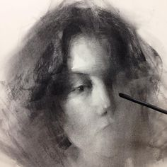 Charcoal demo in progress for the Saturday class #charcoal #drawing #hsinyaotseng #art #wip
