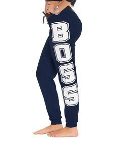 Navy 'Boss' French Terry Joggers by Coco Limon #zulily #zulilyfinds