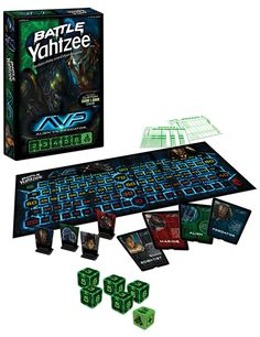 The Alien vs. Predator Battle Yahtzee Game is a whole new take on Yahtzee. Pick a side and do battle as players assume the character of Predator, Alien, Marine Alien Vs Predator, Predator Games, Yahtzee Game, Dice Games, Fun Games, Alien Games, Press Your Luck, Battle Games, Game Sales