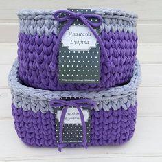 Интерьерные корзинки!комплект Выполнен на заказ!возможен повтор в другом цвете  #вяжукрючком #интерьерныекорзинки #моимируками #crochet #уютныевещи