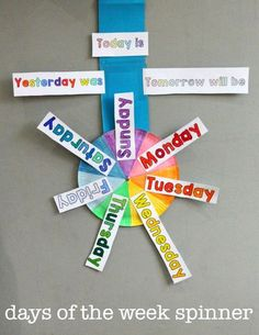 Free days of the week printable spinner How to learn the days of the week - free printables - plus ideas for Days of the Week activities Toddler Learning, Preschool Learning, Kindergarten Activities, Educational Activities, Learning Activities, Preschool Activities, Days Of The Week Activities, Teaching Aids, Teaching Tools