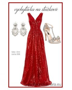29b1c811e032 Červené flitrované šaty na stužkovú Společenské Šaty