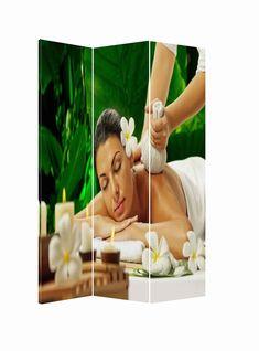 Paravan pentru masaj, relaxare si spa Paravan pentru masaj, relaxare si spa, trei panouri acoperite cu panza canvas rezistenta, decorata in culori placute, relaxante.