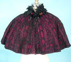 c. 1895 B. RAFFIN Inc, Paris Victorian Jet Beaded Deep Rose Velvet Capelet | Antique Dress - Item for Sale