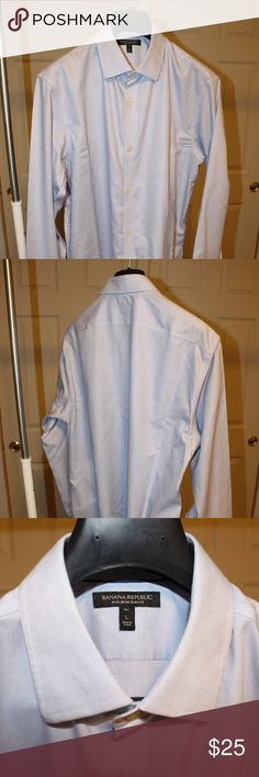 BR Non-Iron Slim Fit Dress Shirt BR Non-Iron Slim Fit Dress Shirt Size: L Tall Color: Light Blue Condition: Like new, no stains, no tags, collar stays included  - Similar to *Grant Slim-Fit Non-Iron Stretch Solid Shirt* found on Banana Republic website. - Please search the BR website with previously mentioned *similar to title* for product details, fit, sizing, fabric, and care. Banana Republic Shirts Dress Shirts