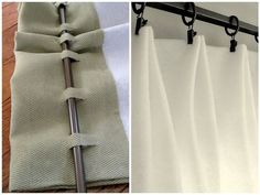 two ways to make your own curtains without sewing. You can either hang up fabric with clip-ons, or you can cut slots in the back of the curtain so that you can attach it to the rod Great Ideas, tips, tutorials and projects for No-sew Window Treatments. Curtains Without Sewing, No Sew Curtains, Rod Pocket Curtains, Hanging Curtains, Curtains With Blinds, Shower Curtains, Diy Blackout Curtains, Outdoor Curtains, How To Make Curtains