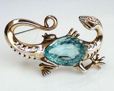 Vintage Reja Sterling Aqua Blue Glass Lizard Figural Brooch.