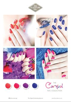 The Carnival Collection is inspired by the kaleidoscope of exotic colour seen during Carnival. These four exciting, vivid bright colours will make a bold fashion statement this summer. Carnival Nails, Bio Sculpture Gel, Bright Colours, Bold Fashion, Season Colors, Nails Inspiration, Nail Colors, Exotic, Manicure