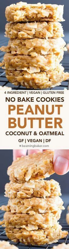 4 Ingredient No Bake Peanut Butter Coconut Oatmeal Cookies (V, GF): a one-bowl recipe for super easy to make peanut butter cookies packed with coconut and oats! ~ http://beamingbaker.com/4-ingredient-no-bake-peanut-butter-coconut-oatmeal-cookies-gluten-free-vegan-dairy-free-4-ingredient-one-bowl/