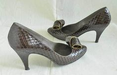 Vintage 70s Stuart Weitzman Mr Seymour Real Snakeskin Pumps Studs Origami Pointy