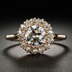 Victorian Rose Gold and Diamond Cluster Ring - 10-1-6273 - Lang Antiques