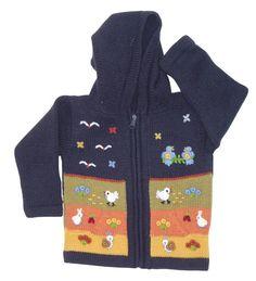 Peruvian Wool Sweater Jacket Dark Grey blue por Lemondedediego