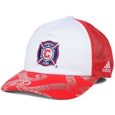 adidas Women's Chicago Fire Trucker Cap (83 ILS) ❤ liked on Polyvore featuring accessories, hats, sport caps, truck caps, cap hats, sport hats and embroidered hats
